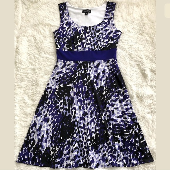 Perceptions Dresses & Skirts - Sleeveless Purple & Black Print Dress